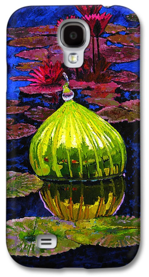Blown Glass Galaxy S4 Case featuring the painting Lilies And Glass Reflections by John Lautermilch