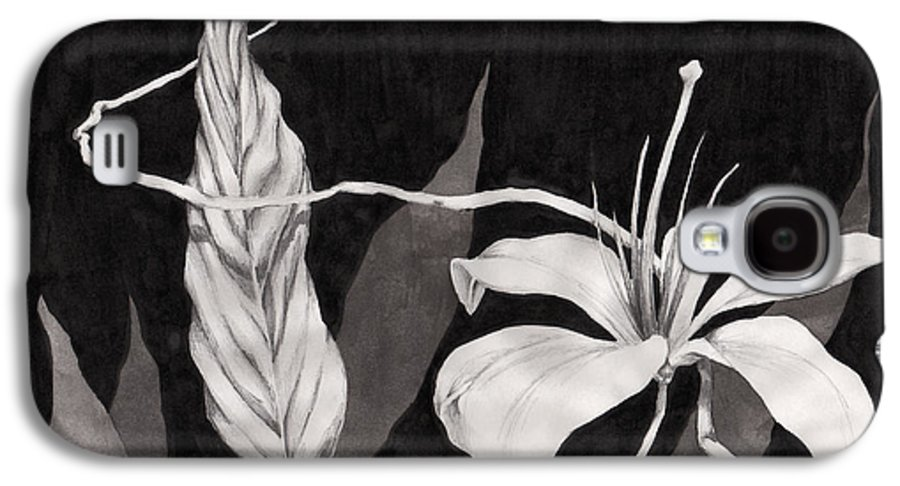 Ink Painting Galaxy S4 Case featuring the drawing Lily In The Night by Jennifer McDuffie
