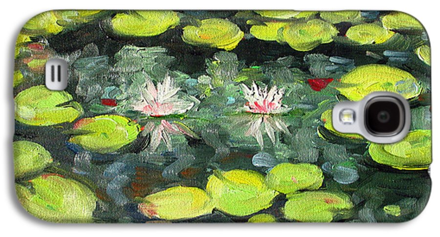 Pond Galaxy S4 Case featuring the painting Lily Pond by Paul Walsh