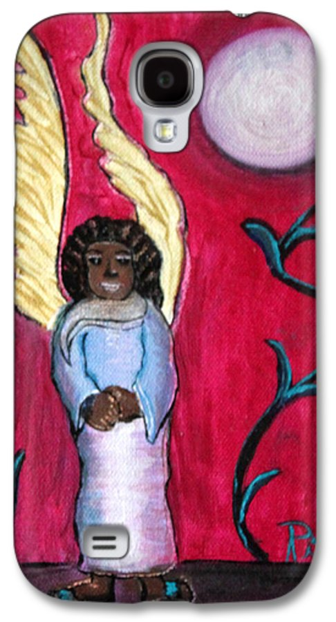 Beautiful Black Angel With Long Gold Wings Galaxy S4 Case featuring the painting Little Angel by Pilar Martinez-Byrne