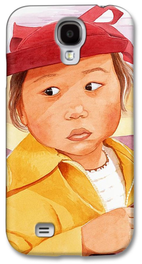 Little Japanese Girl In Red Hat Galaxy S4 Case featuring the painting Little Girl In Red Hat by Judy Swerlick
