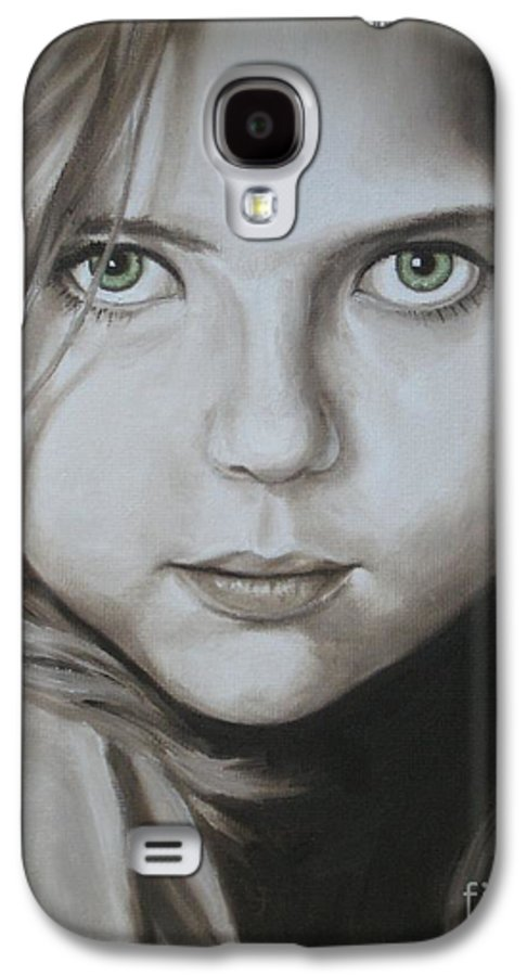Portrait Galaxy S4 Case featuring the painting Little Girl With Green Eyes by Jindra Noewi