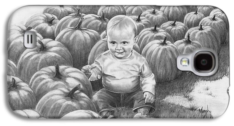 Charity Galaxy S4 Case featuring the drawing Little Pumpkin by Murphy Elliott