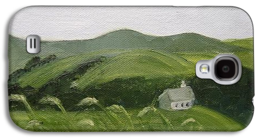 Landscape Galaxy S4 Case featuring the painting Little Schoolhouse On The Hill by Toni Berry