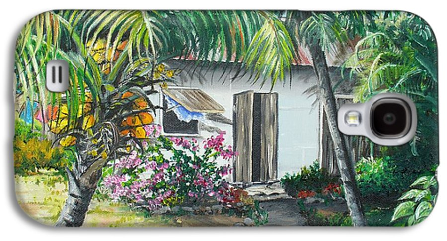 Caribbean Painting Typical Country House In Trinidad And The Islands With Coconut Tree Tropical Painting Galaxy S4 Case featuring the painting Little West Indian House 2...sold by Karin Dawn Kelshall- Best