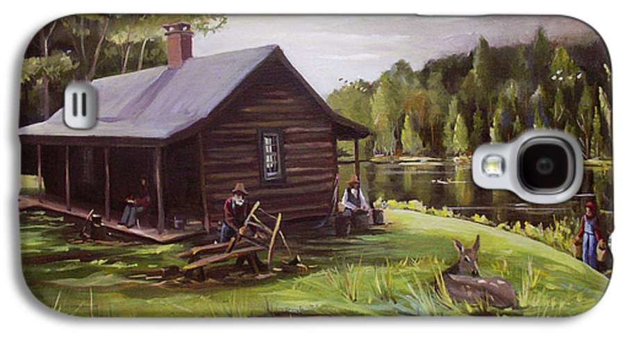 Log Cabin By The Lake Galaxy S4 Case featuring the painting Log Cabin By The Lake by Nancy Griswold