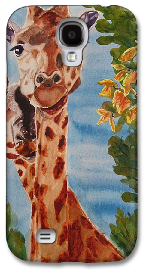 Giraffes Galaxy S4 Case featuring the painting Lookin Back by Karen Ilari