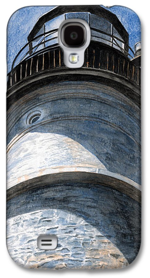 Lighthouse Galaxy S4 Case featuring the painting Looking Up Portland Head Light by Dominic White