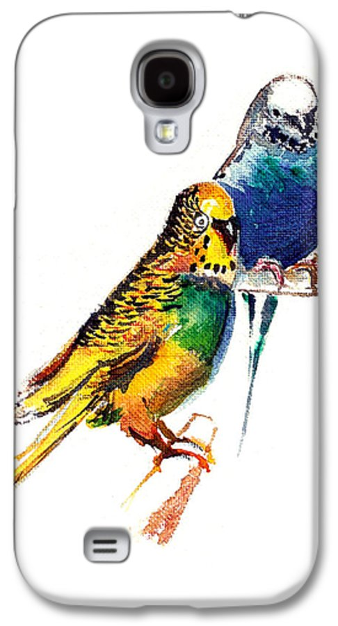 Nature Galaxy S4 Case featuring the painting Love Birds by Anil Nene