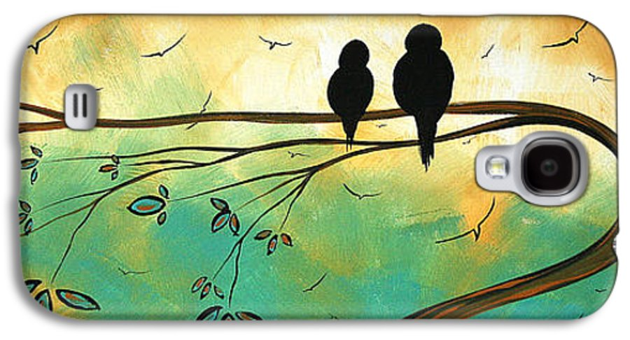 Art Galaxy S4 Case featuring the painting Love Birds By Madart by Megan Duncanson