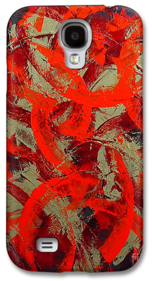 Abstract Galaxy S4 Case featuring the painting Love Trails by Dean Triolo