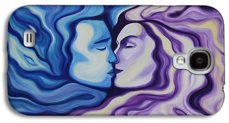 Acrylic Galaxy S4 Case featuring the painting Lovers In Eternal Kiss by Jindra Noewi