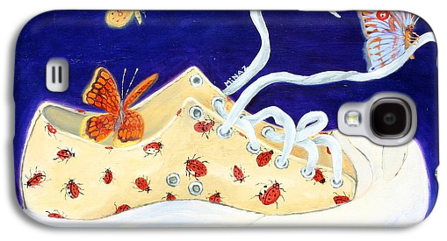 Running Shoes Galaxy S4 Case featuring the painting Lucky Lady Bug Shoe by Minaz Jantz