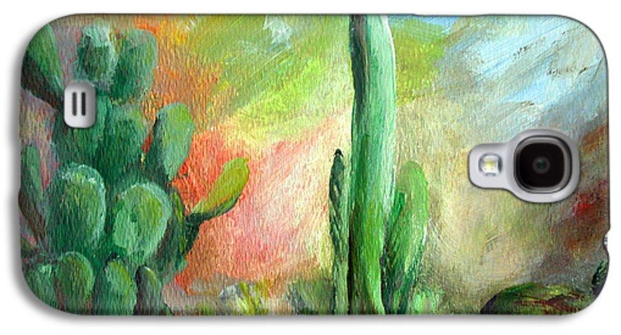 Floral Painting Galaxy S4 Case featuring the painting Lumiere De Desert by Muriel Dolemieux