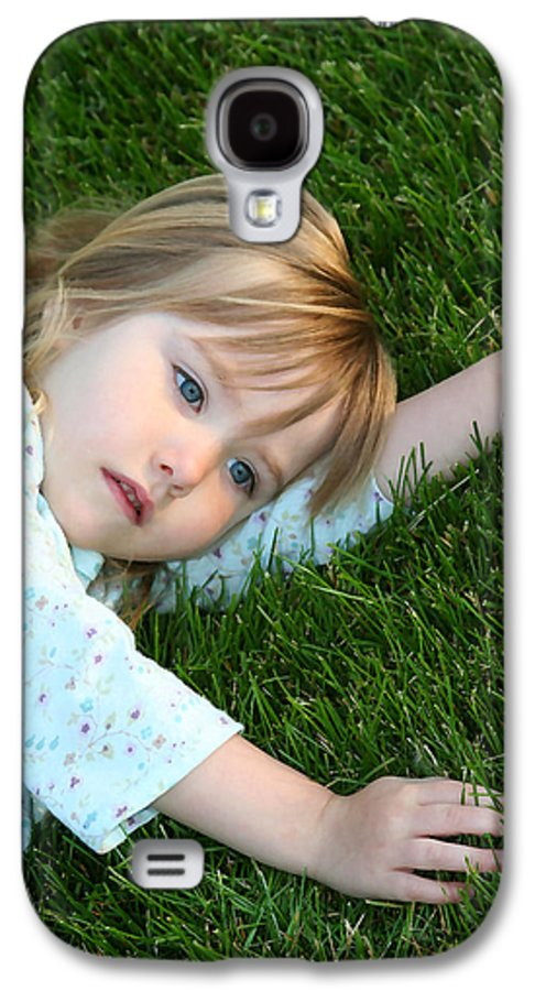 Girl Galaxy S4 Case featuring the photograph Lying In The Grass by Margie Wildblood