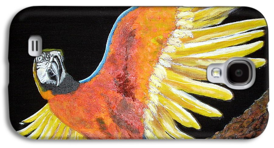 Macaw Galaxy S4 Case featuring the painting Macaw - Wingin' It by Susan Kubes