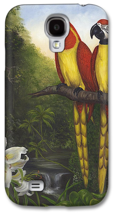 Landscape Galaxy S4 Case featuring the painting Macaws And Lillies by Anne Kushnick