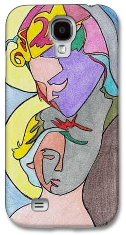 Madonna W/ Child Galaxy S4 Case featuring the drawing Madonna With Child by Loretta Nash