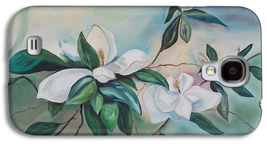 Flowers Galaxy S4 Case featuring the painting Magnolia Summer by Margaret Fortunato