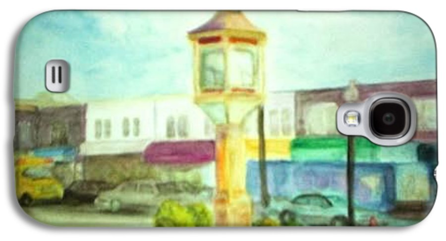 Clock Galaxy S4 Case featuring the painting Main Street by Sheila Mashaw