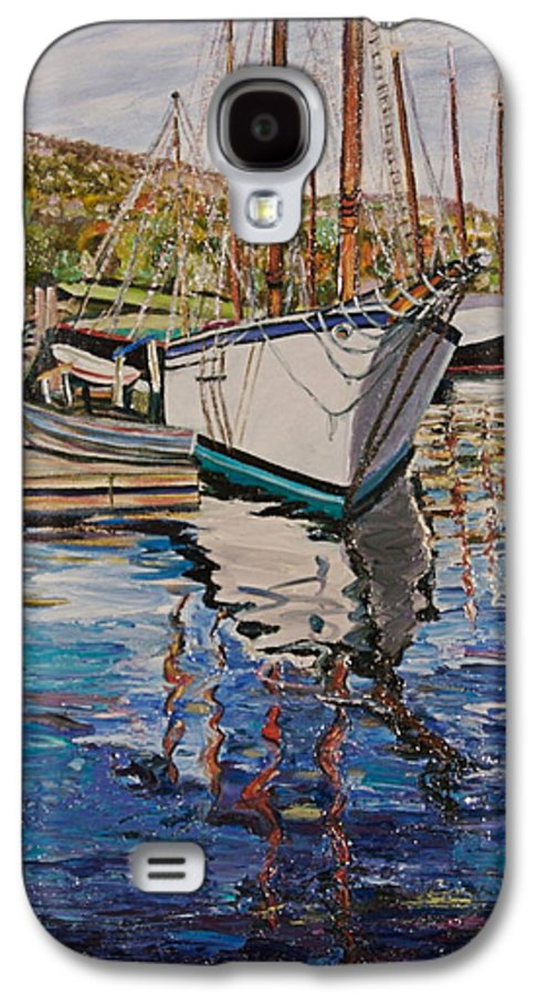 Maine Galaxy S4 Case featuring the painting Maine Coast Boat Reflections by Richard Nowak