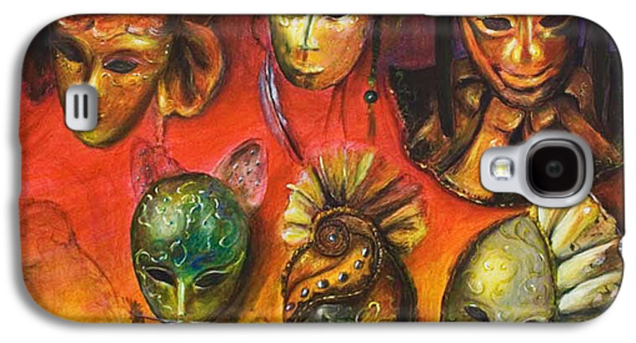 Masks Galaxy S4 Case featuring the painting Making Faces IIi by Nik Helbig