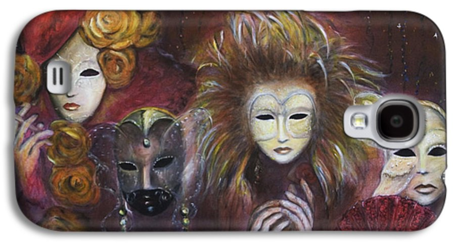 Masks Galaxy S4 Case featuring the painting Making Faces Vi by Nik Helbig