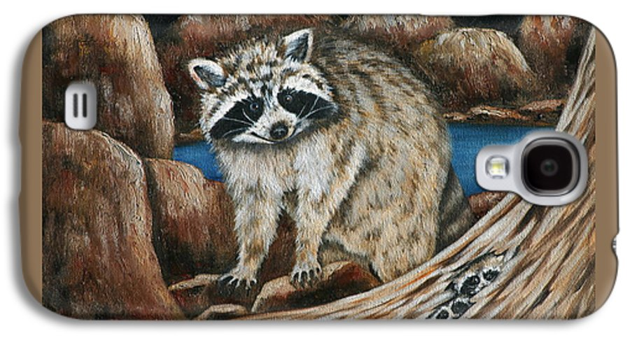 Racoon Galaxy S4 Case featuring the painting Mama Racoon by Ruth Bares