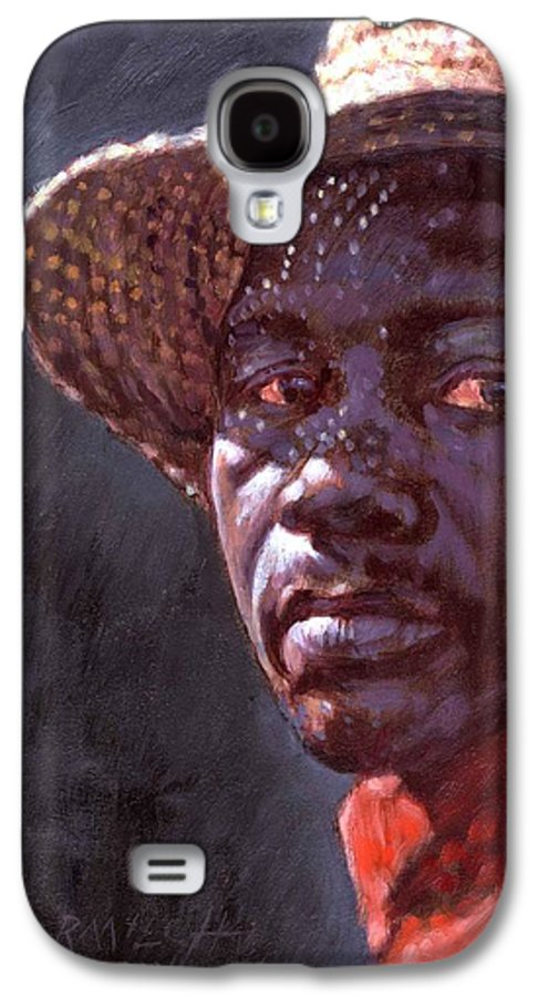 Black Man Galaxy S4 Case featuring the painting Man In Straw Hat by John Lautermilch