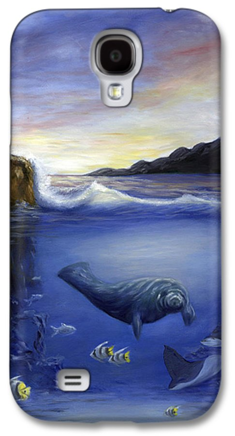 Seaworld Galaxy S4 Case featuring the painting Manatee by Anne Kushnick