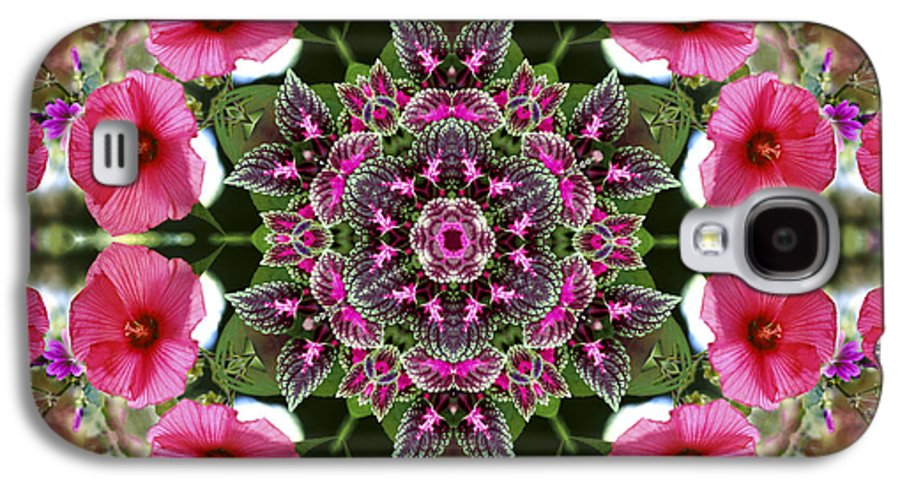 Mandala Galaxy S4 Case featuring the digital art Mandala Pink Patron by Nancy Griswold