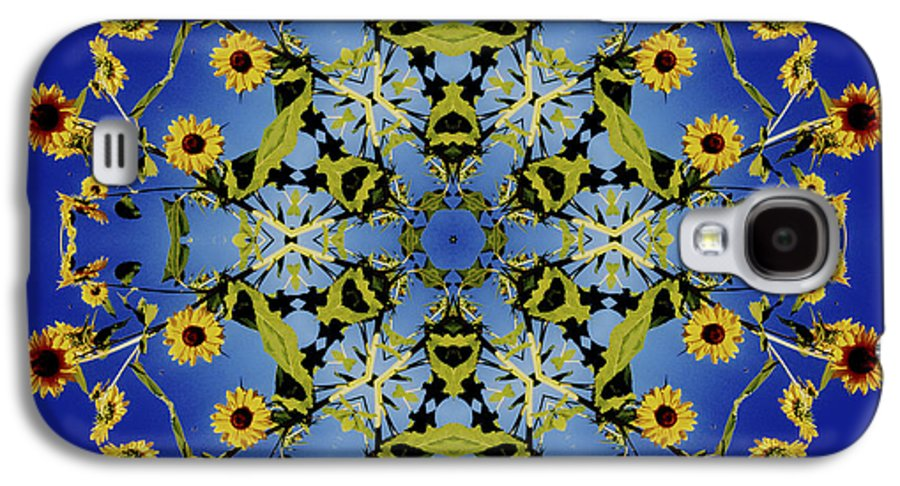 Mandala Galaxy S4 Case featuring the digital art Mandala Sunflower by Nancy Griswold