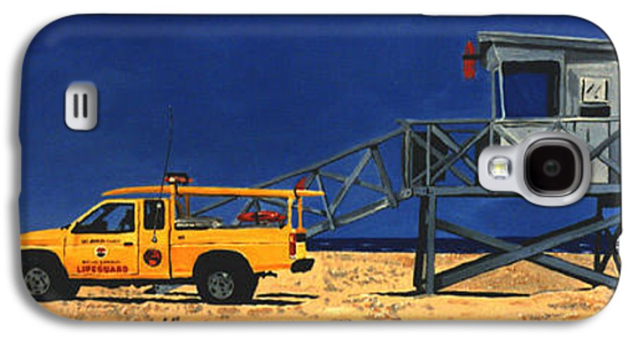 Modern Galaxy S4 Case featuring the painting Manhattan Beach Lifeguard Station Side by Lance Headlee