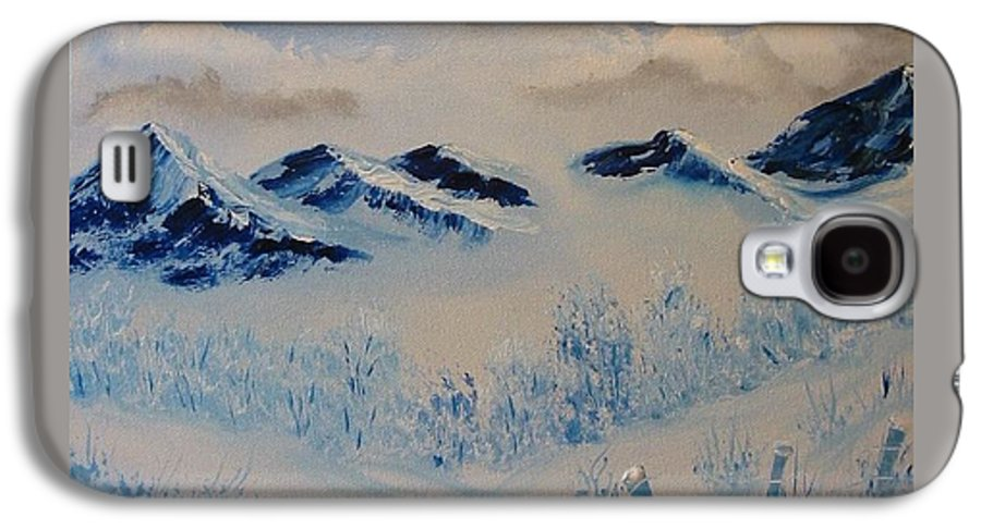 Blue Galaxy S4 Case featuring the painting Many Valleys by Laurie Kidd
