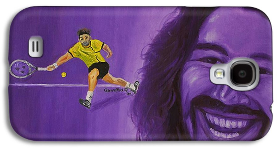Marcos Galaxy S4 Case featuring the painting Marcos Baghdatis by Quwatha Valentine