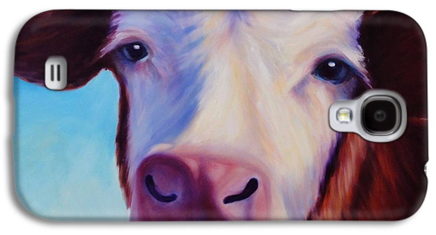 Cow Galaxy S4 Case featuring the painting Marie by Shannon Grissom