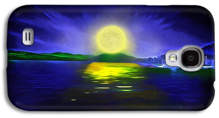 Couer D' Alene; Idaho; Lakes; Water; Night; Nighttime; Moonlight; Moonlit; Full Moon Galaxy S4 Case featuring the photograph Marina Moonrise by Steve Ohlsen