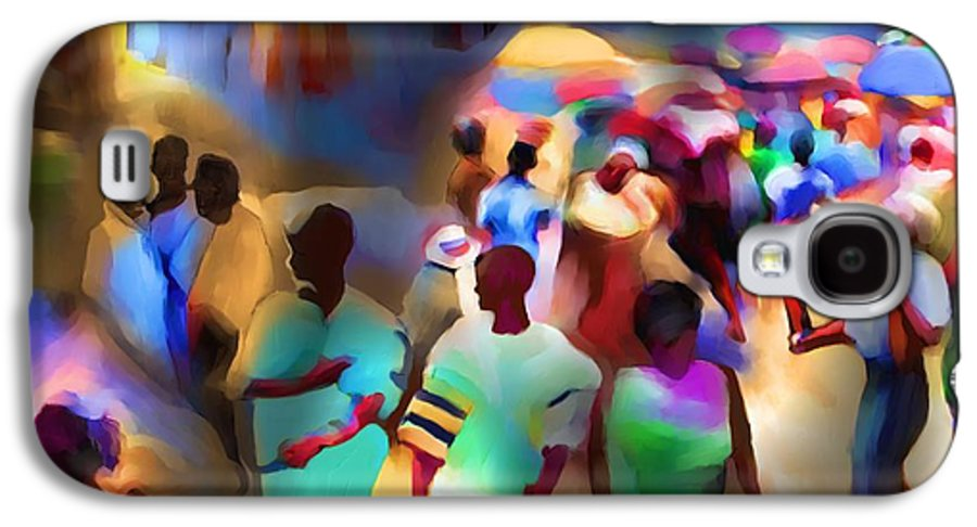 Haiti Galaxy S4 Case featuring the painting Marketplace At Night Cap Haitien by Bob Salo