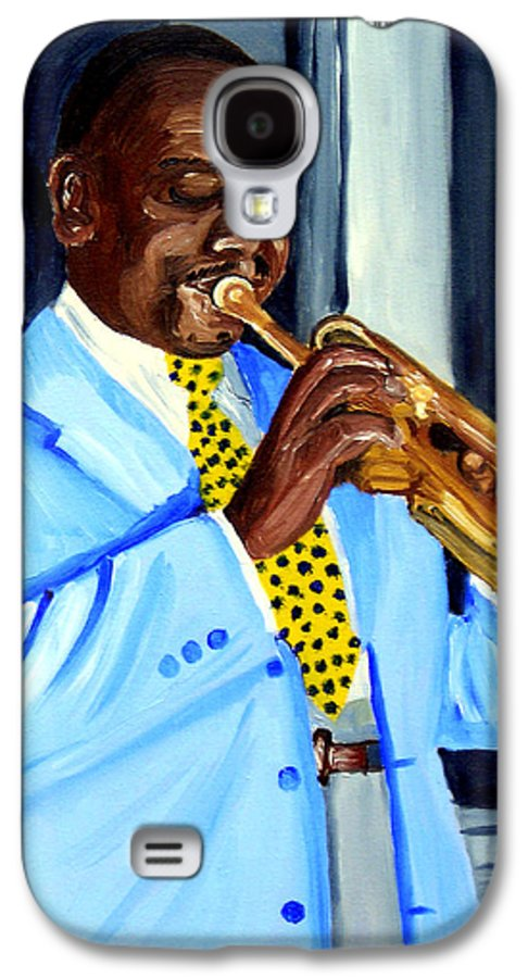 Street Musician Galaxy S4 Case featuring the painting Master Of Jazz by Michael Lee