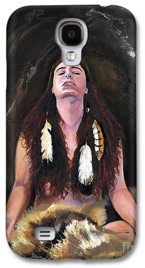Southwest Art Galaxy S4 Case featuring the painting Medicine Woman by J W Baker