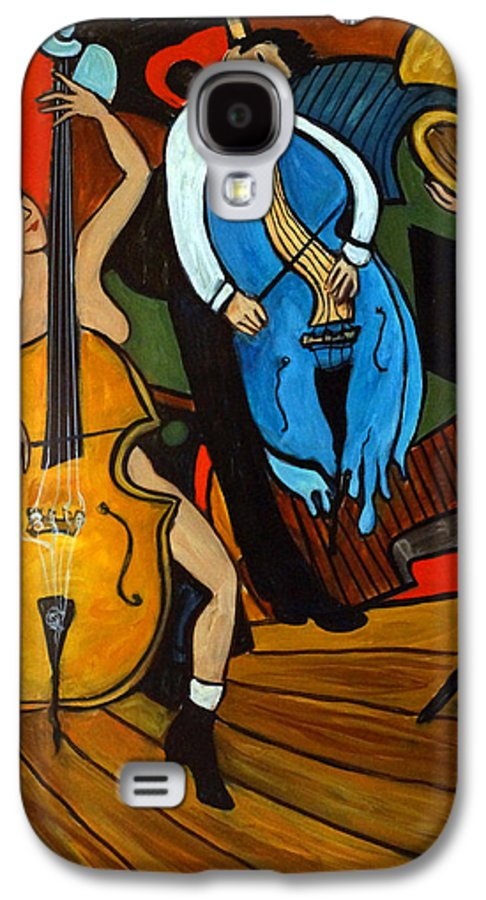 Musician Abstract Galaxy S4 Case featuring the painting Melting Jazz by Valerie Vescovi