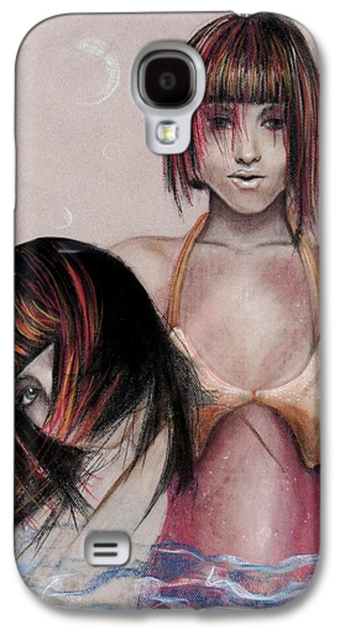Mermaid Galaxy S4 Case featuring the drawing Mermaid Emerging by Maryn Crawford