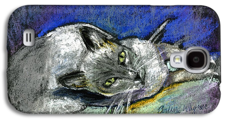 Cat Galaxy S4 Case featuring the pastel Michael Campbell by Arline Wagner