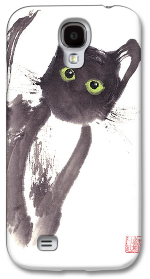 A Curious Black Kitten. This Is A Contemporary Chinese Ink And Color On Rice Paper Painting With Simple Zen Style Brush Strokes.  Galaxy S4 Case featuring the painting Midnight by Mui-Joo Wee