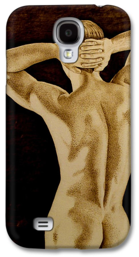 Pyrography; Sepia; Nude; Male; Back; Pointillism; Shadow; Hands; Naked; Muscles; Galaxy S4 Case featuring the pyrography Midnight Stretch by Jo Schwartz