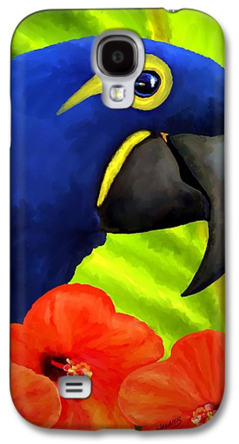 Hyacinth Macaw Galaxy S4 Case featuring the painting Mimi by David Wagner