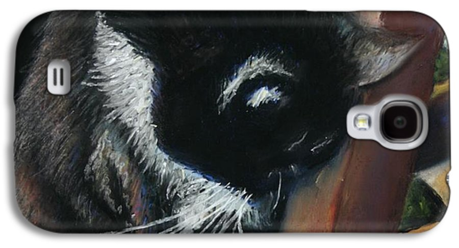 Cat Galaxy S4 Case featuring the painting Kitty Chair by Minaz Jantz
