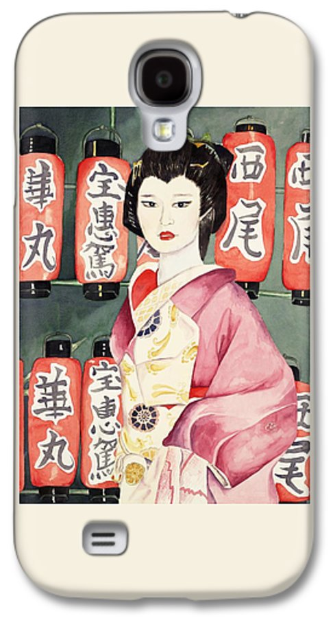 Geisha In Kimono With Red Lanterns Galaxy S4 Case featuring the painting Miss Hanamaru At Osaka Festival by Judy Swerlick