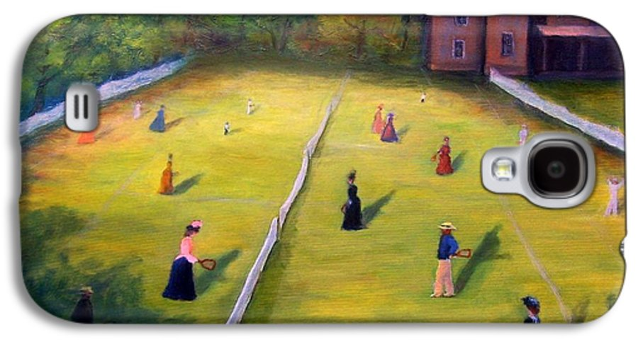 Tennis Art Galaxy S4 Case featuring the painting Mixed Doubles by Gail Kirtz
