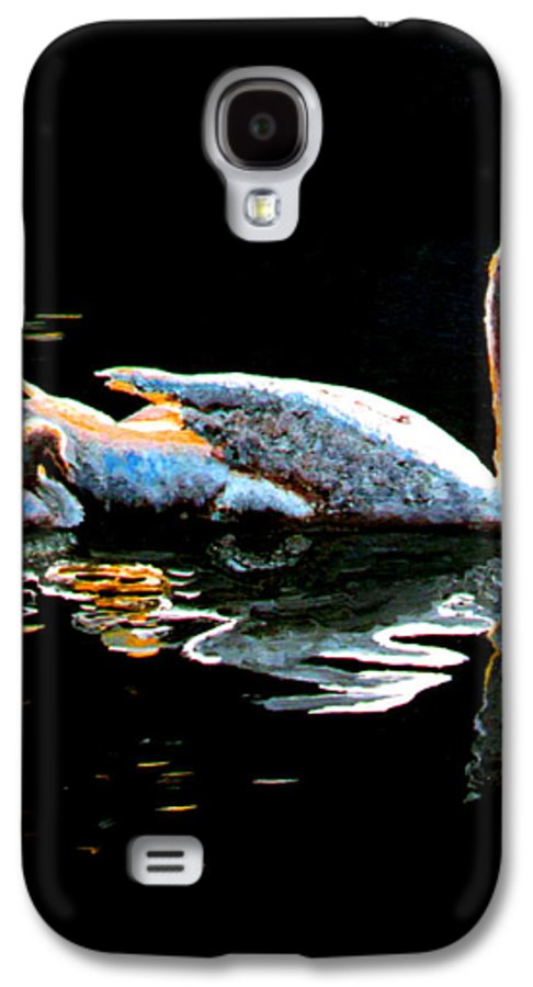 Swan Galaxy S4 Case featuring the painting Mom And Baby Swan by Stan Hamilton